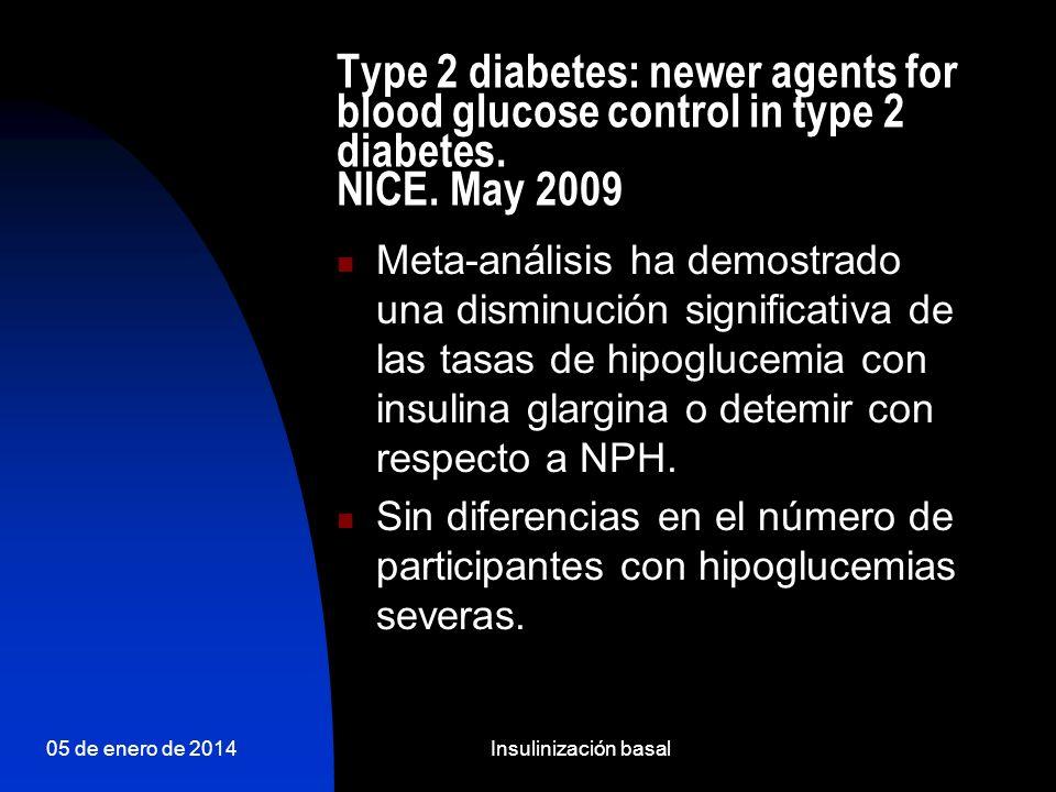 05 de enero de 2014Insulinización basal Incremento ponderal GLARGINA vs NPH Insulina NPH Insulina glargina 1.61.41.21.00.80.60.40.20.0 Incremento ponderal medio tras (kg) * * p<0,0007 frente a glargina Duración del estudio: 28 semanas n=518 Raskin P et al.