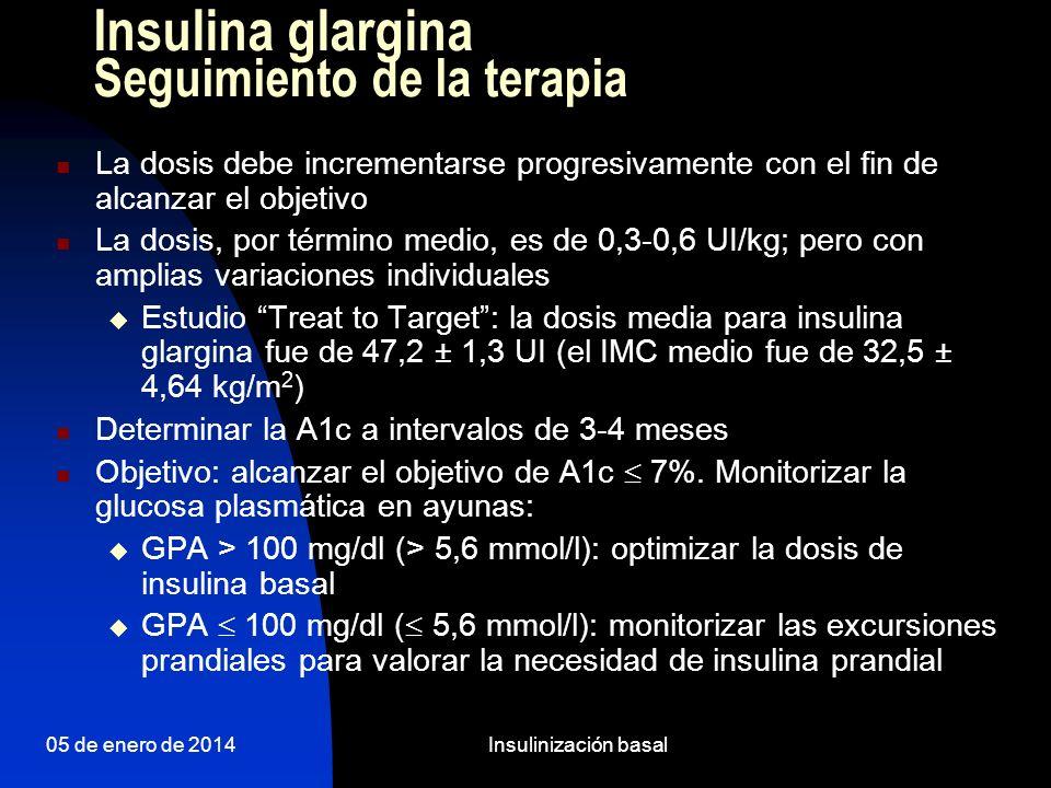 05 de enero de 2014Insulinización basal A los 3 meses valoramos de nuevo a Marta: Actualmente metformina 850 1-0-1 y glargina 0-0-26.