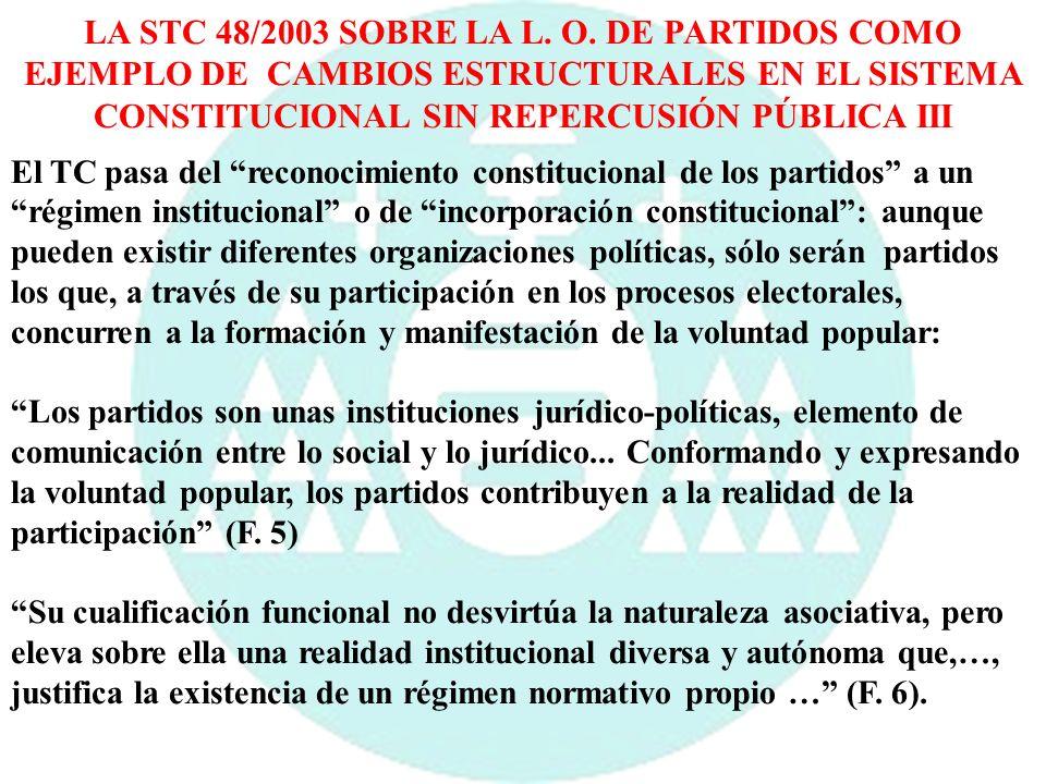 LA STC 48/2003 SOBRE LA L. O. DE PARTIDOS COMO EJEMPLO DE CAMBIOS ESTRUCTURALES EN EL SISTEMA CONSTITUCIONAL SIN REPERCUSIÓN PÚBLICA III El TC pasa de