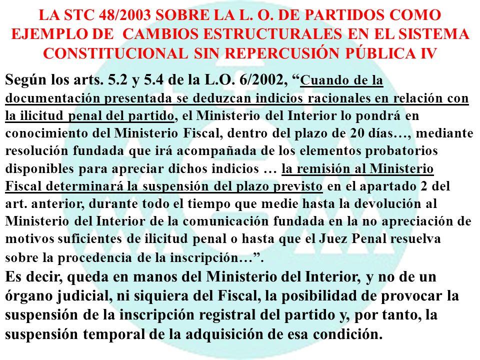 LA STC 48/2003 SOBRE LA L. O. DE PARTIDOS COMO EJEMPLO DE CAMBIOS ESTRUCTURALES EN EL SISTEMA CONSTITUCIONAL SIN REPERCUSIÓN PÚBLICA IV Según los arts