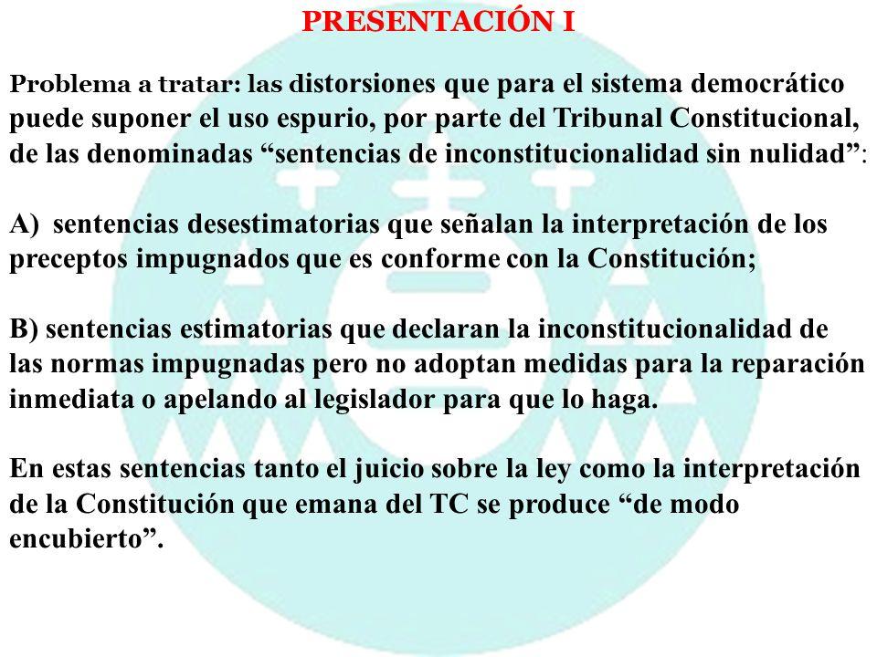 PRESENTACIÓN II En los últimos años algunas de las decisiones más delicadas se han resuelto no a través de la solución más traumática de la declaración de inconstitucionalidad, sino mediante decisiones interpretativas, que, en ocasiones, han provocado cambios estructurales en el sistema sin gran repercusión pública: 1) STC 236/2007, de 7 de noviembre, sobre la Ley Orgánica de Derechos y Libertades de los Extranjeros, 2) STC 48/2003, de 12 de marzo, sobre la Ley Orgánica 6/2002, de 27 de junio, de partidos políticos, 3) STC 85/2003, de 8 de mayo, que puso fin a los 249 recursos de amparo electorales interpuestos contra las Sentencias de la Sala Especial del artículo 61 de la Ley Orgánica del Poder Judicial del Tribunal Supremo, de 3 de mayo de 2003.