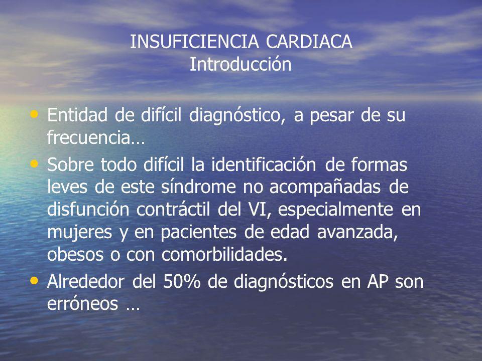 INSUFICIENCIA CARDIACA Problema Diagnóstico Los síntomas y signos son inespecíficos Fatigabilidad- Disnea Ortopnea DPN+ HN junio 2008