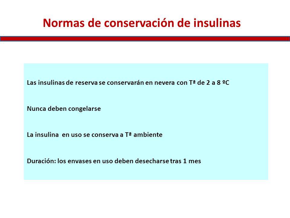 Normas de conservación de insulinas Las insulinas de reserva se conservarán en nevera con Tª de 2 a 8 ºC Nunca deben congelarse La insulina en uso se