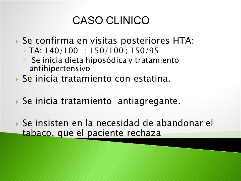 Se confirma en visitas posteriores HTA: TA: 140/100 ; 150/100 ; 150/95 Se inicia dieta hiposódica y tratamiento antihipertensivo Se inicia tratamiento