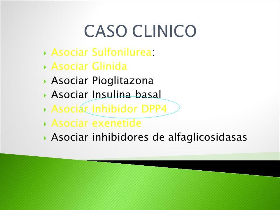 Asociar Sulfonilurea: Asociar Glinida Asociar Pioglitazona Asociar Insulina basal Asociar Inhibidor DPP4 Asociar exenetide Asociar inhibidores de alfa