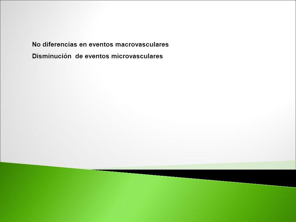 No diferencias en eventos macrovasculares Disminución de eventos microvasculares