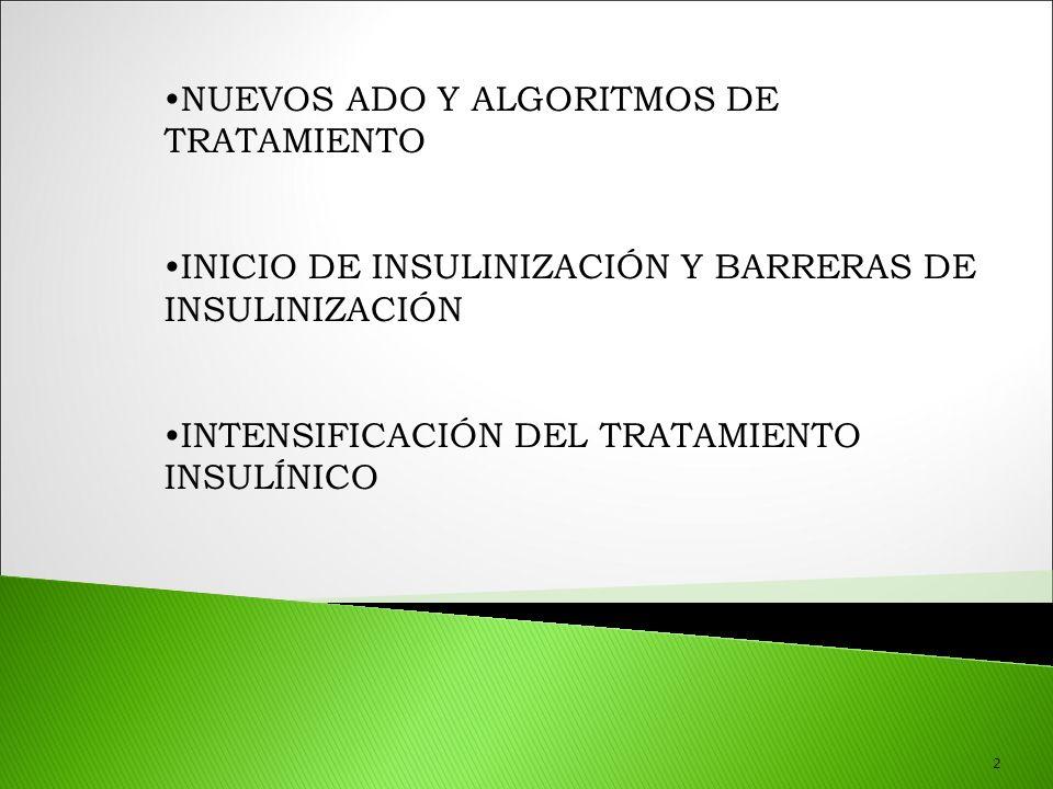2 NUEVOS ADO Y ALGORITMOS DE TRATAMIENTO INICIO DE INSULINIZACIÓN Y BARRERAS DE INSULINIZACIÓN INTENSIFICACIÓN DEL TRATAMIENTO INSULÍNICO