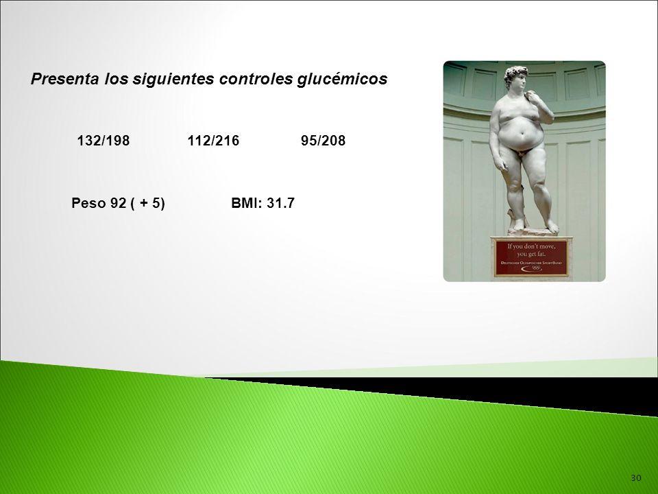 30 Presenta los siguientes controles glucémicos 132/198 112/216 95/208 Peso 92 ( + 5) BMI: 31.7
