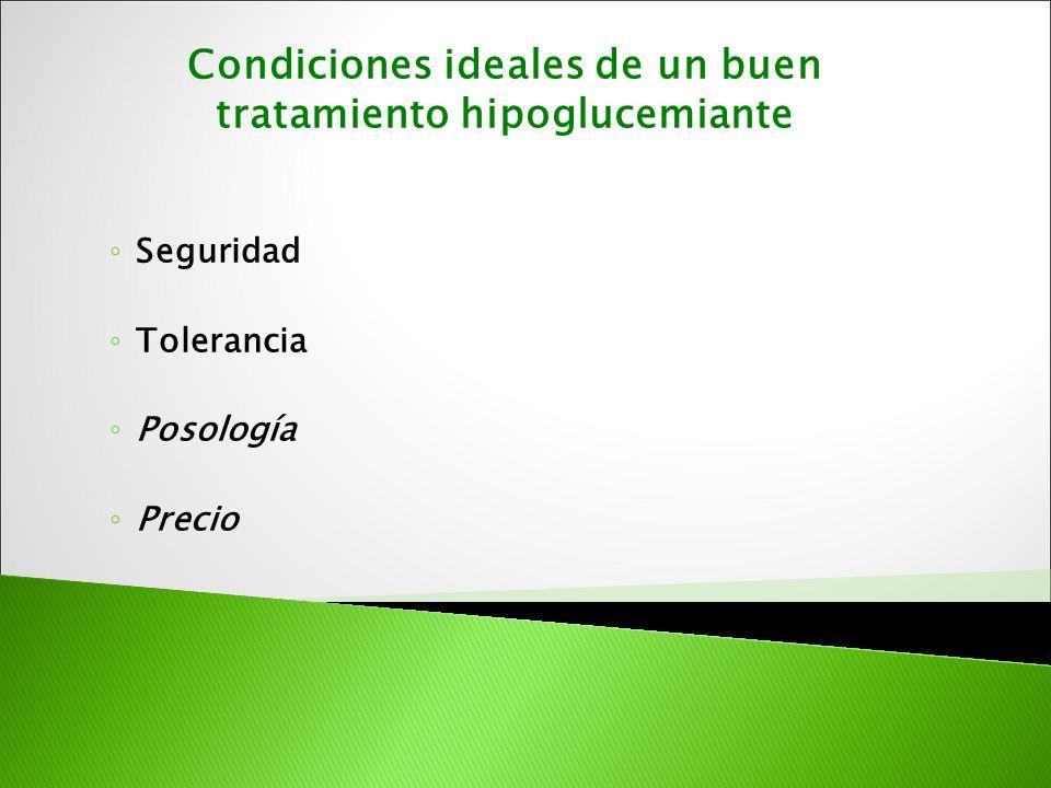 Seguridad Tolerancia Posología Precio Condiciones ideales de un buen tratamiento hipoglucemiante
