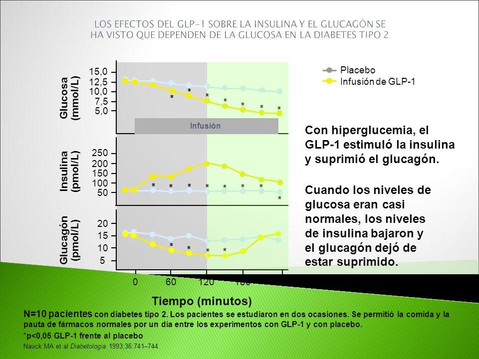 N=10 pacientes con diabetes tipo 2. Los pacientes se estudiaron en dos ocasiones. Se permitió la comida y la pauta de fármacos normales por un día ent