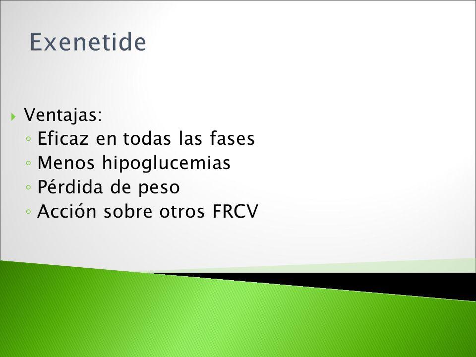 Ventajas: Eficaz en todas las fases Menos hipoglucemias Pérdida de peso Acción sobre otros FRCV