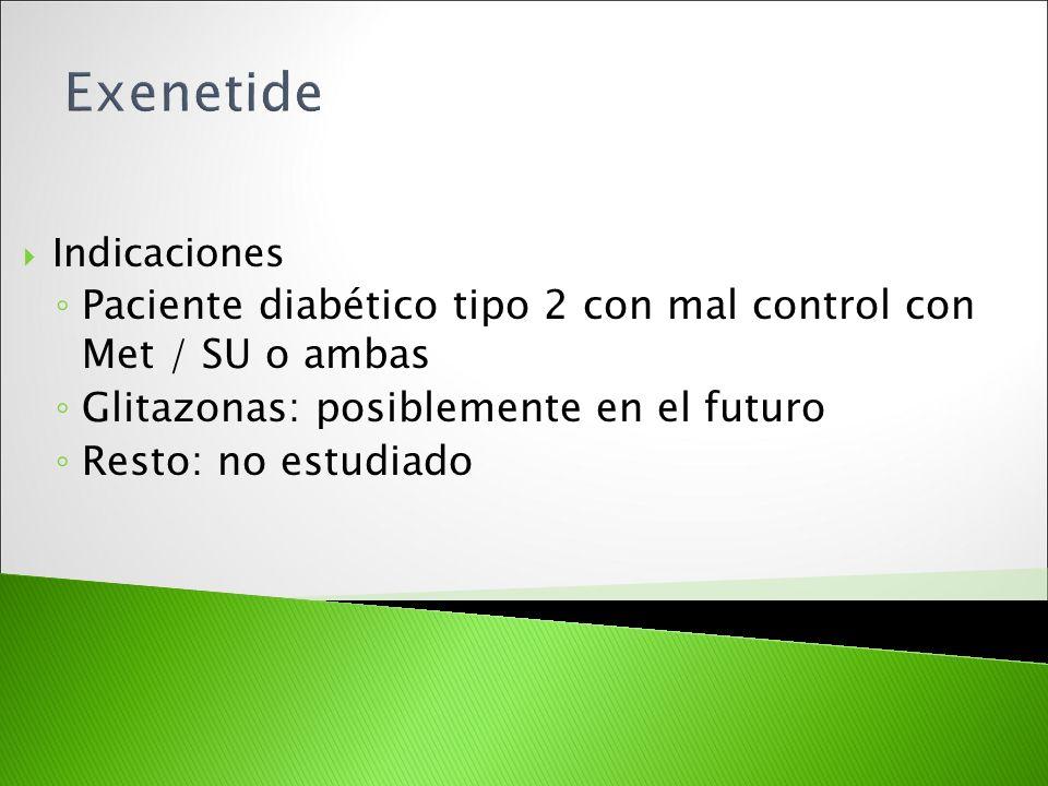 Indicaciones Paciente diabético tipo 2 con mal control con Met / SU o ambas Glitazonas: posiblemente en el futuro Resto: no estudiado