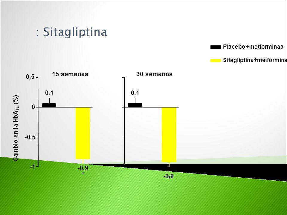 30 semanas 15 semanas Cambio en la HbA 1c (%) Placebo +metforminaa Sitagliptina+metformina * 0,1 -0,9 * -0,5 0 0,5 0,1