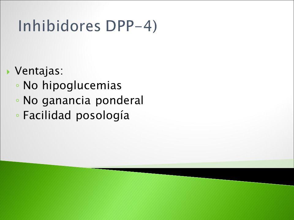 Ventajas: No hipoglucemias No ganancia ponderal Facilidad posología