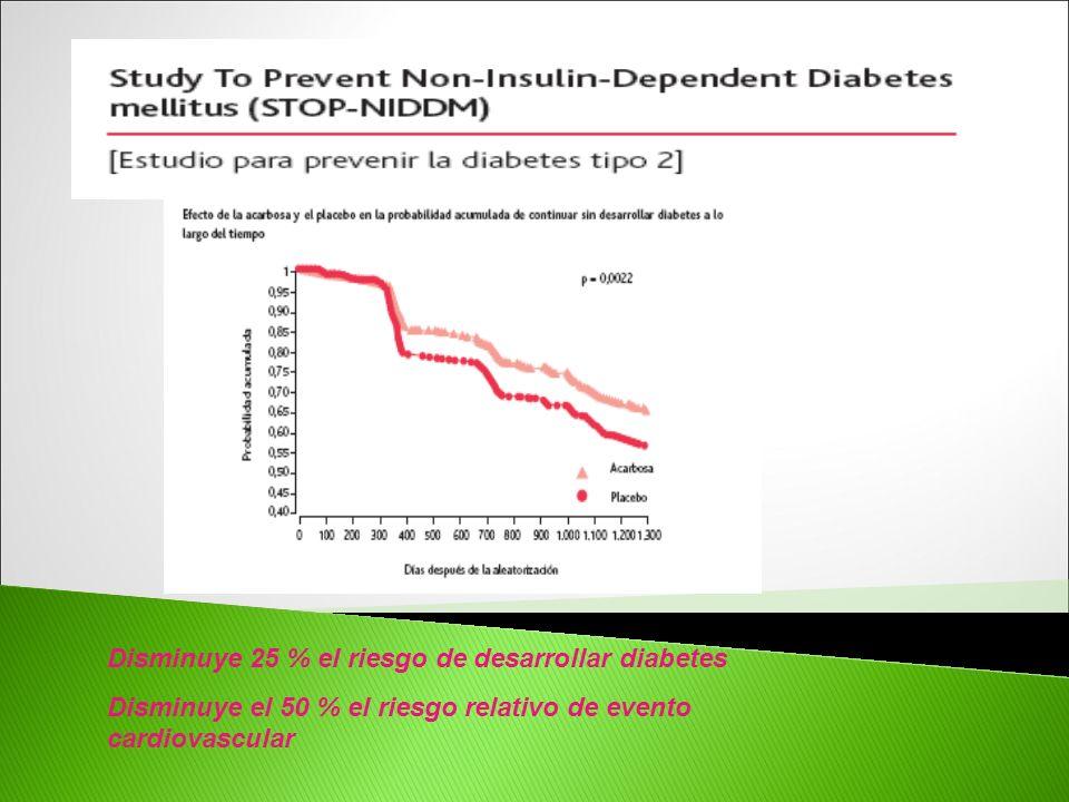 Disminuye 25 % el riesgo de desarrollar diabetes Disminuye el 50 % el riesgo relativo de evento cardiovascular