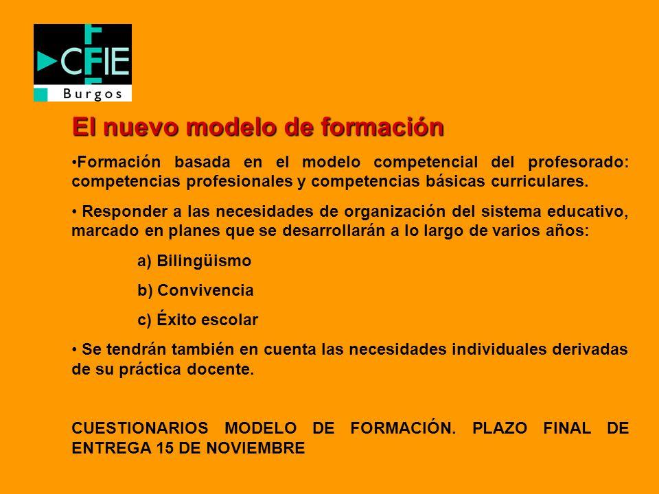El nuevo modelo de formación Formación basada en el modelo competencial del profesorado: competencias profesionales y competencias básicas curriculare