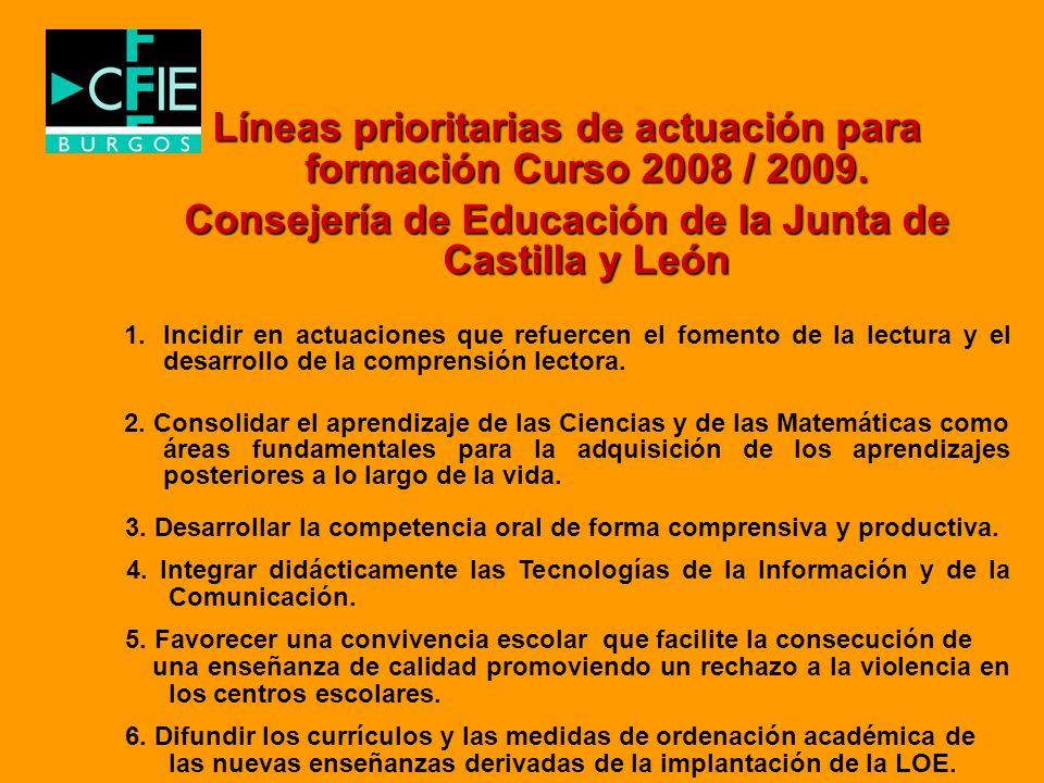 Líneas prioritarias de actuación para formación Curso 2008 / 2009. Consejería de Educación de la Junta de Castilla y León 1.Incidir en actuaciones que