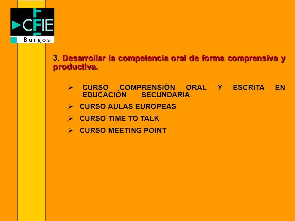 Desarrollar la competencia oral de forma comprensiva y productiva. 3. Desarrollar la competencia oral de forma comprensiva y productiva. CURSO COMPREN