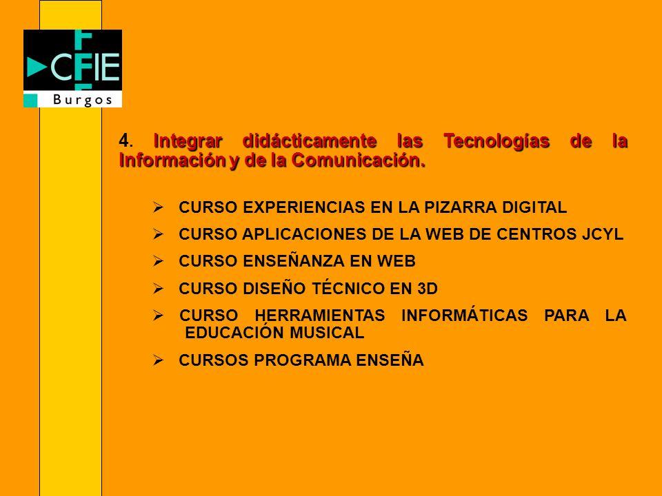 Integrar didácticamente las Tecnologías de la Información y de la Comunicación. 4. Integrar didácticamente las Tecnologías de la Información y de la C