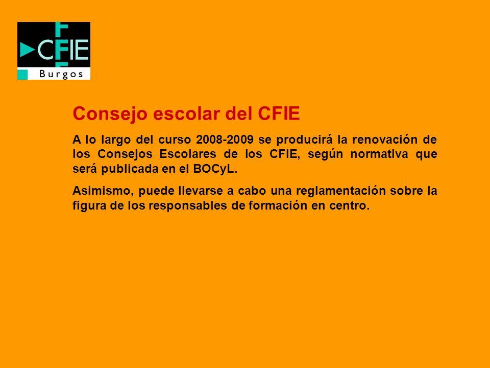 Consejo escolar del CFIE A lo largo del curso 2008-2009 se producirá la renovación de los Consejos Escolares de los CFIE, según normativa que será pub