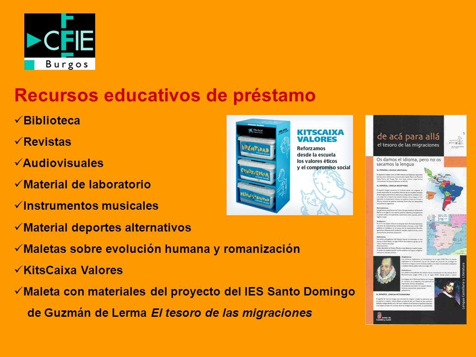 Recursos educativos de préstamo Biblioteca Revistas Audiovisuales Material de laboratorio Instrumentos musicales Material deportes alternativos Maleta
