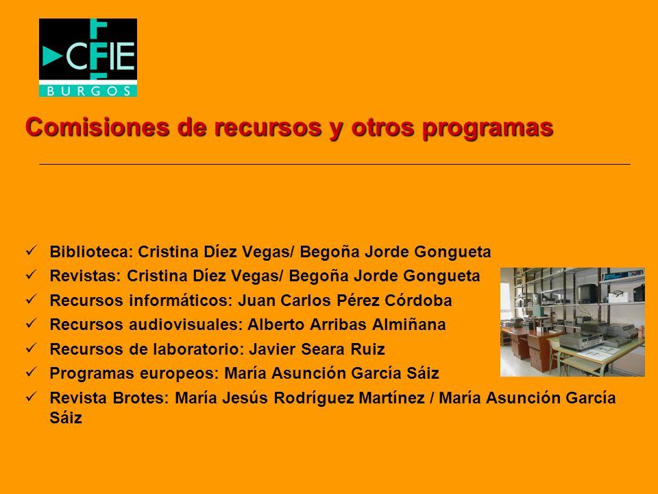 Comisiones de recursos y otros programas Biblioteca: Cristina Díez Vegas/ Begoña Jorde Gongueta Revistas: Cristina Díez Vegas/ Begoña Jorde Gongueta R