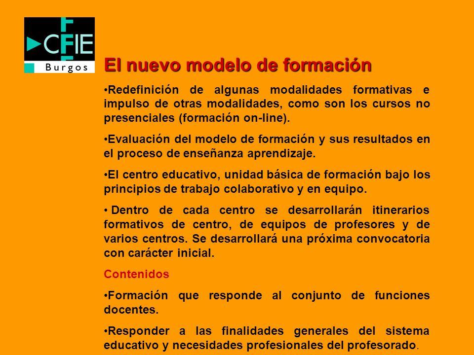 El nuevo modelo de formación Redefinición de algunas modalidades formativas e impulso de otras modalidades, como son los cursos no presenciales (forma
