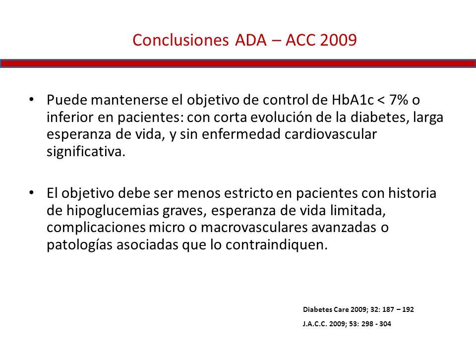 Conclusiones ADA – ACC 2009 Puede mantenerse el objetivo de control de HbA1c < 7% o inferior en pacientes: con corta evolución de la diabetes, larga e