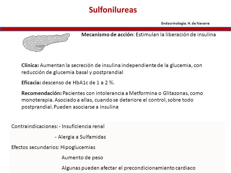 Sulfonilureas Mecanismo de acción: Estimulan la liberación de insulina Clinica: Aumentan la secreción de insulina independiente de la glucemia, con re