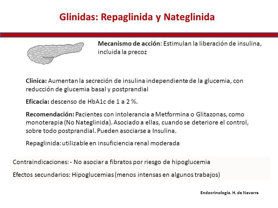 Glinidas: Repaglinida y Nateglinida Mecanismo de acción: Estimulan la liberación de insulina, incluida la precoz Clinica: Aumentan la secreción de ins