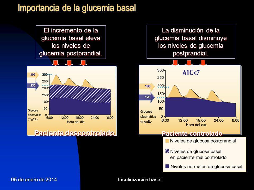 05 de enero de 2014Insulinización basal Comparación farmacodinámica 2 NPH vs 1 GLARGINA D AC Comidas intermedia Efecto Insulinico intermedia glargina
