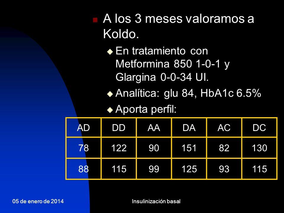 05 de enero de 2014Insulinización basal Conclusiones La insulinización basal se presenta en la actualidad como una alternativa de primera línea en el paciente con DM2 no controlado con uno o más ADOs (ADA 2006) 1 La insulina glargina / detemir ha demostrado tener eficacia para ser una alternativa terapéutica de primera línea para los pacientes con DM2 no controlados 2,3 La insulina glargina / detemir en comparación con NPH tiene una menor incidencia de hipoglucemias, en especial las nocturnas y las severas 4 La insulina glargina / detemir permite un tratamiento flexible y de sencilla titulación 5 1 Nathan DM et al.