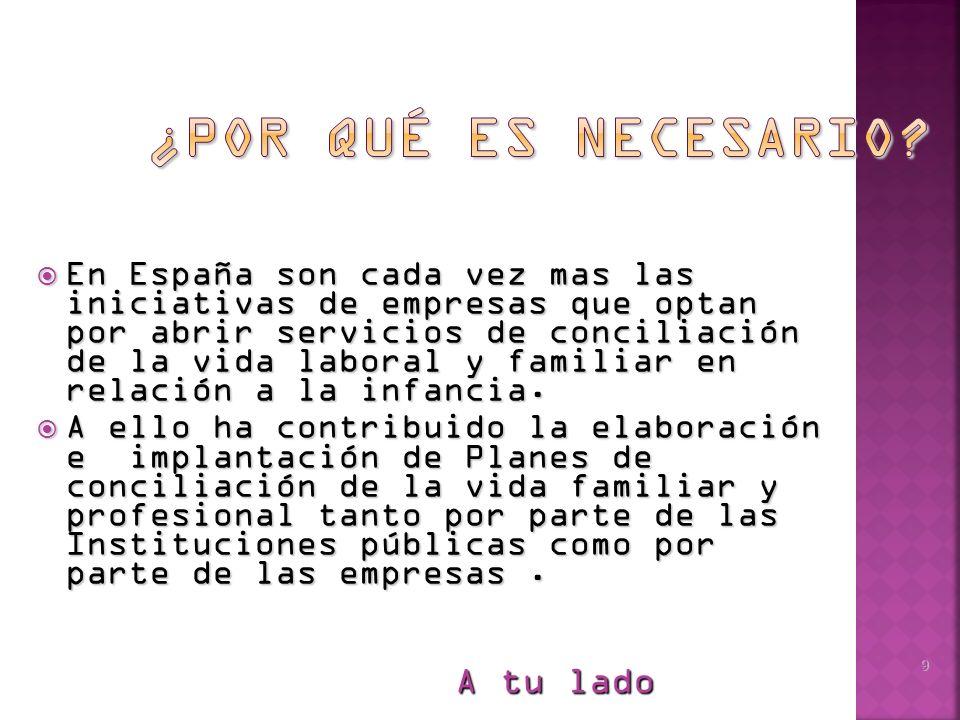 A tu lado 9 En España son cada vez mas las iniciativas de empresas que optan por abrir servicios de conciliación de la vida laboral y familiar en relación a la infancia.