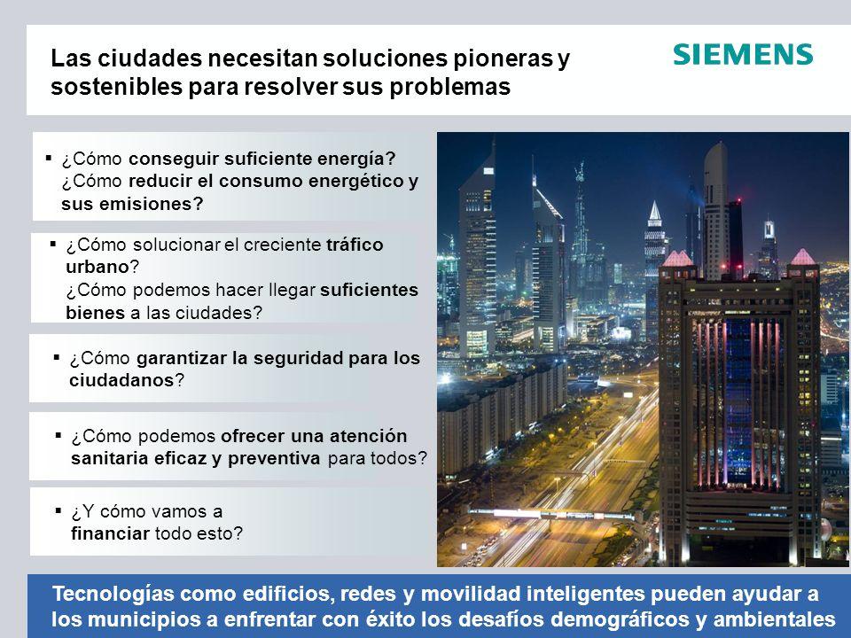 Soluciones para un desarrollo urbano sostenible Generación de energías renovables Movilidad Completa Redes inteligentes Cuidado sanitario eficiente Eficiencia energética Gestión de los residuos Seguridad