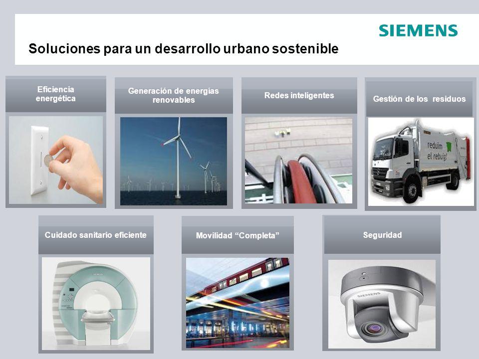 Soluciones para un desarrollo urbano sostenible Generación de energías renovables Movilidad Completa Redes inteligentes Cuidado sanitario eficiente Ef