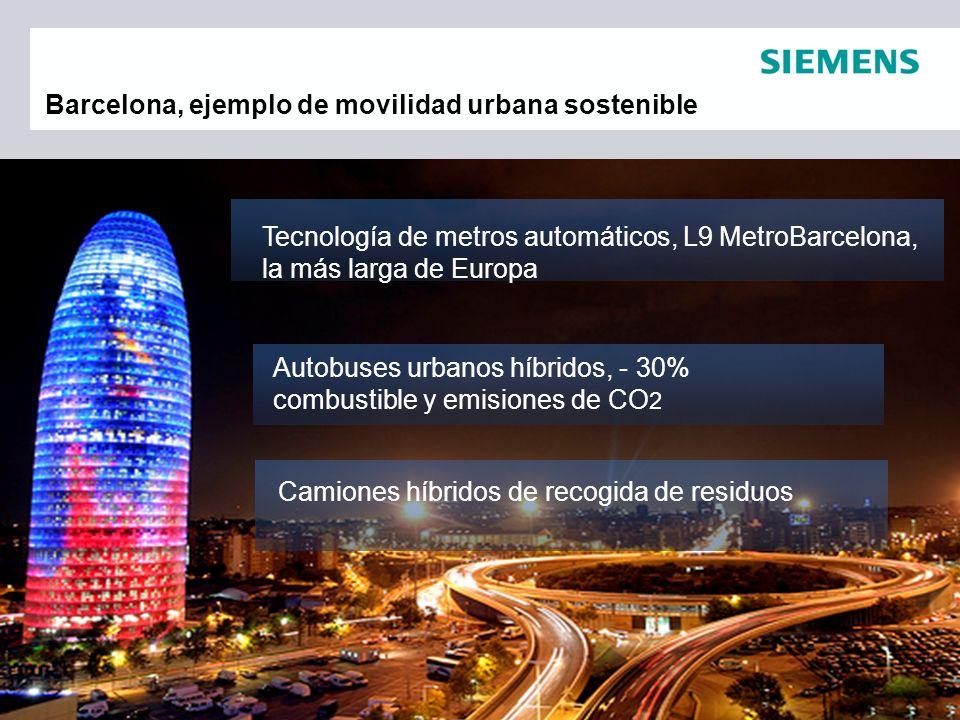 Barcelona, ejemplo de movilidad urbana sostenible Autobuses urbanos híbridos, - 30% combustible y emisiones de CO 2 Tecnología de metros automáticos,