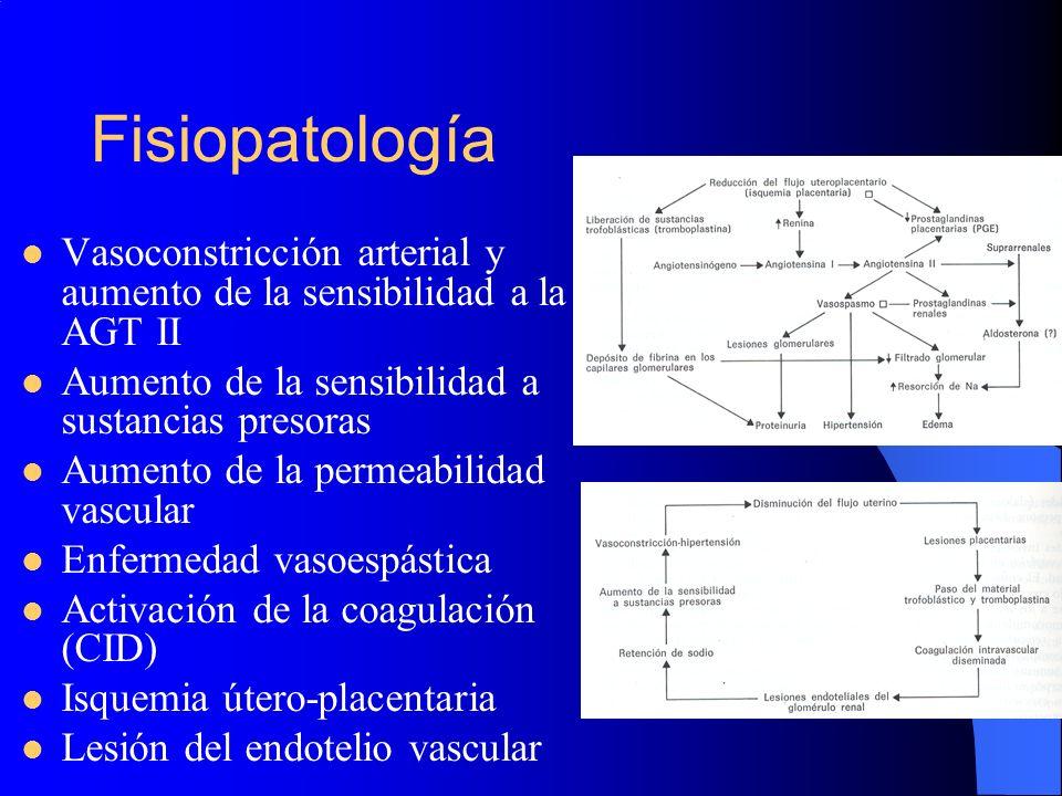 Fisiopatología Vasoconstricción arterial y aumento de la sensibilidad a la AGT II Aumento de la sensibilidad a sustancias presoras Aumento de la perme
