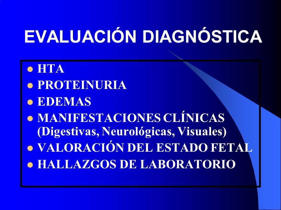 EVALUACIÓN DIAGNÓSTICA HTA PROTEINURIA EDEMAS MANIFESTACIONES CLÍNICAS (Digestivas, Neurológicas, Visuales) VALORACIÓN DEL ESTADO FETAL HALLAZGOS DE L