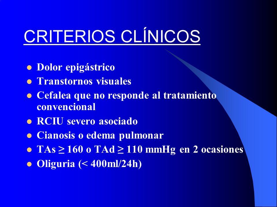 CRITERIOS CLÍNICOS Dolor epigástrico Transtornos visuales Cefalea que no responde al tratamiento convencional RCIU severo asociado Cianosis o edema pu