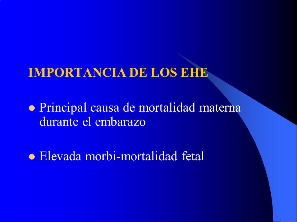 IMPORTANCIA DE LOS EHE Principal causa de mortalidad materna durante el embarazo Elevada morbi-mortalidad fetal