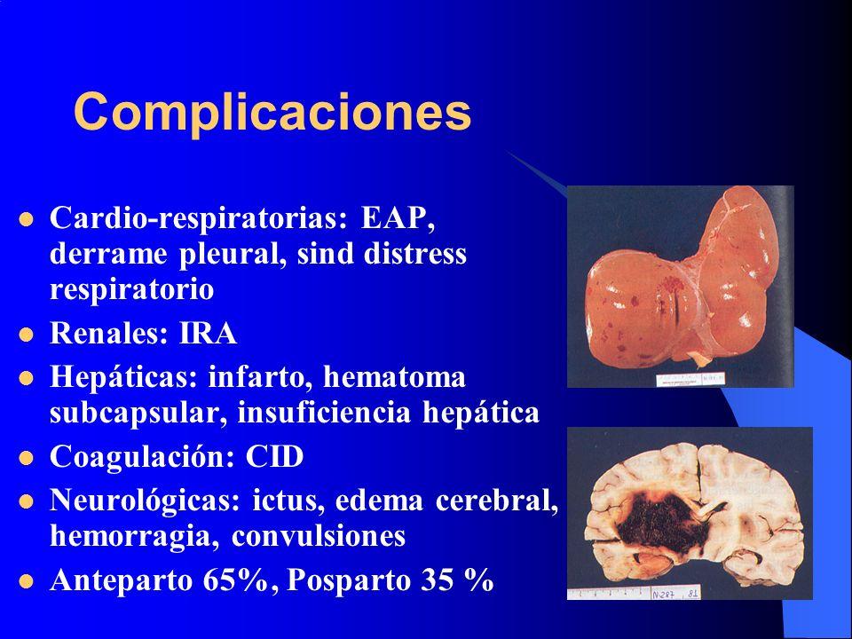 Complicaciones Cardio-respiratorias: EAP, derrame pleural, sind distress respiratorio Renales: IRA Hepáticas: infarto, hematoma subcapsular, insuficie