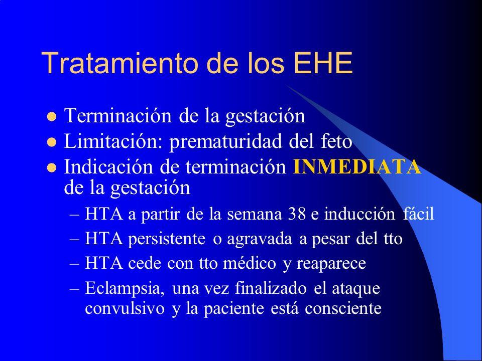 Tratamiento de los EHE Terminación de la gestación Limitación: prematuridad del feto Indicación de terminación INMEDIATA de la gestación –HTA a partir
