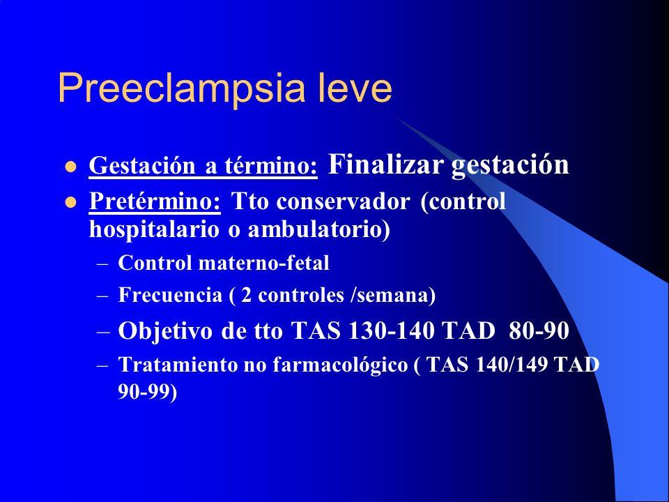 Preeclampsia leve Gestación a término: Finalizar gestación Pretérmino: Tto conservador (control hospitalario o ambulatorio) –Control materno-fetal –Fr