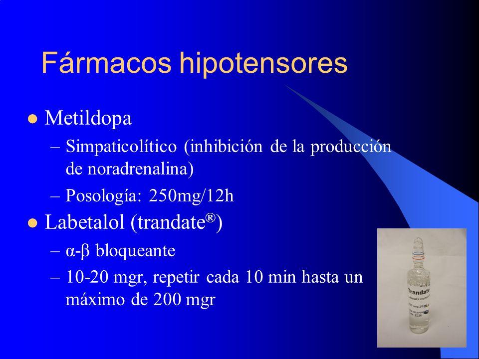 Fármacos hipotensores Metildopa –Simpaticolítico (inhibición de la producción de noradrenalina) –Posología: 250mg/12h Labetalol (trandate ® ) –α-β blo