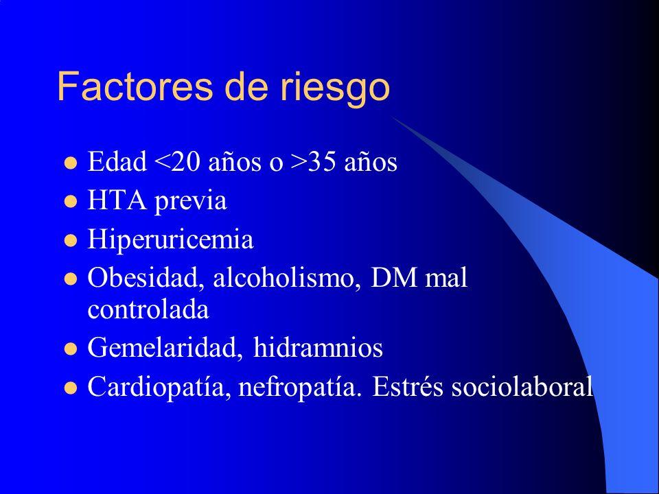 Factores de riesgo Edad 35 años HTA previa Hiperuricemia Obesidad, alcoholismo, DM mal controlada Gemelaridad, hidramnios Cardiopatía, nefropatía. Est