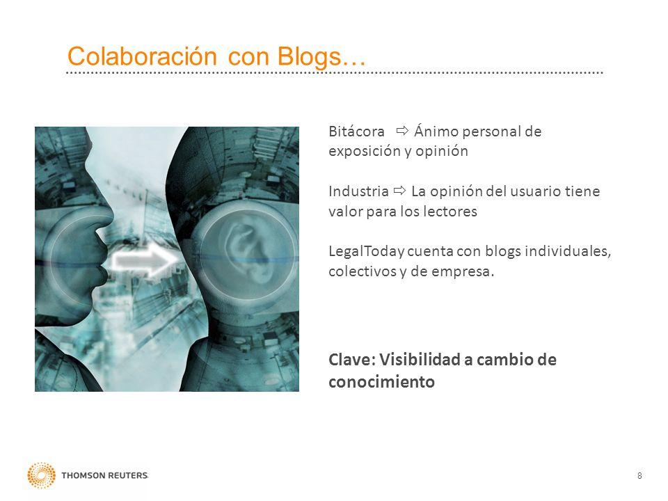 Colaboración con Blogs… 8 Clave: Visibilidad a cambio de conocimiento Bitácora Ánimo personal de exposición y opinión Industria La opinión del usuario tiene valor para los lectores LegalToday cuenta con blogs individuales, colectivos y de empresa.
