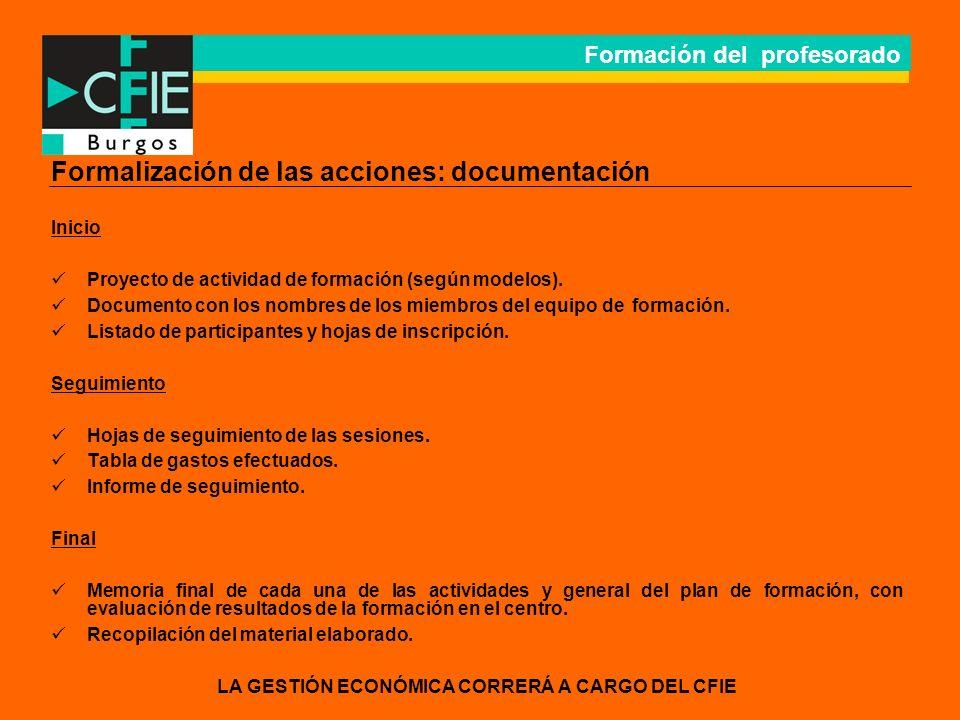 Formación del profesorado Formalización de las acciones: documentación Inicio Proyecto de actividad de formación (según modelos).