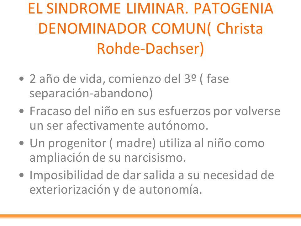 EL SINDROME LIMINAR. PATOGENIA DENOMINADOR COMUN( Christa Rohde-Dachser) 2 año de vida, comienzo del 3º ( fase separación-abandono) Fracaso del niño e