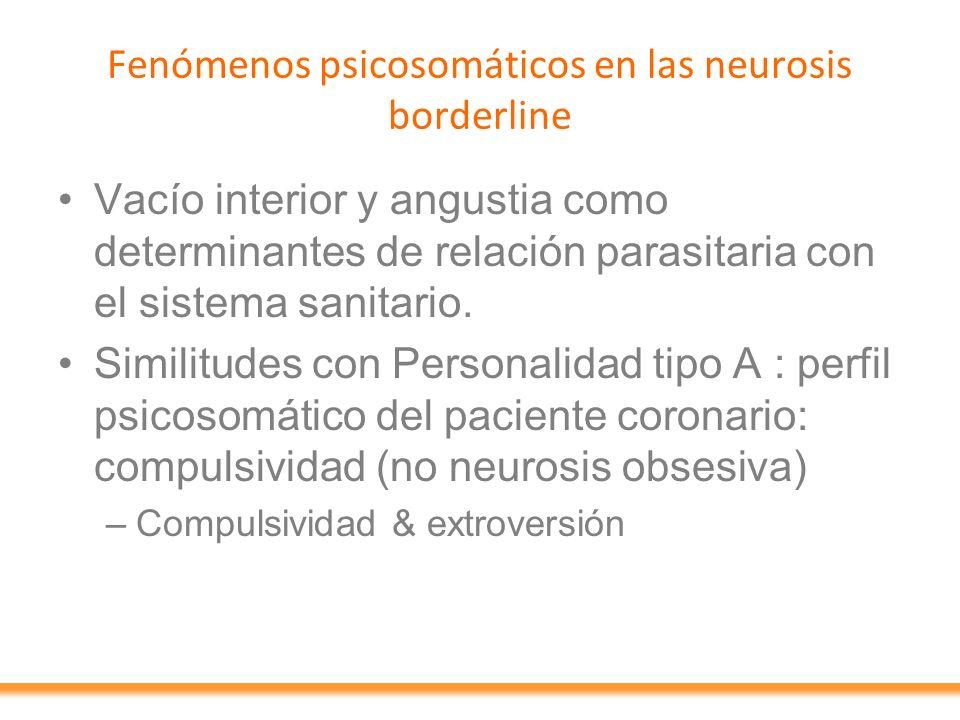 Fenómenos psicosomáticos en las neurosis borderline Vacío interior y angustia como determinantes de relación parasitaria con el sistema sanitario. Sim