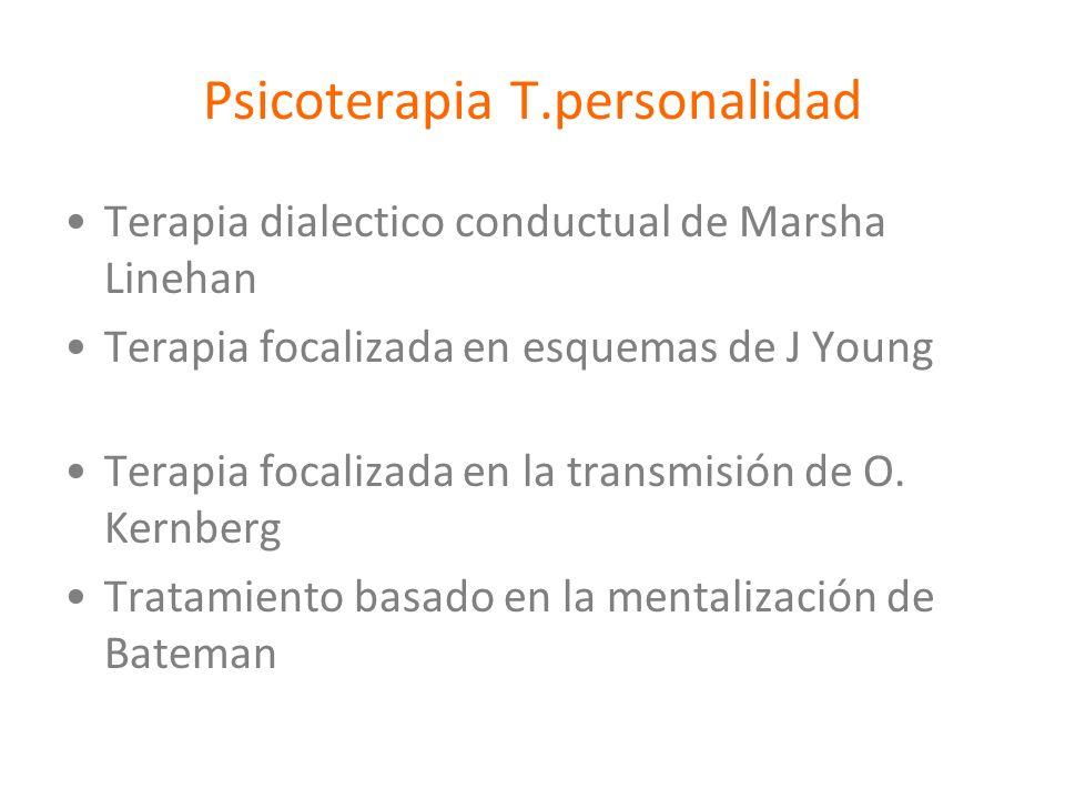 Psicoterapia T.personalidad Terapia dialectico conductual de Marsha Linehan Terapia focalizada en esquemas de J Young Terapia focalizada en la transmi